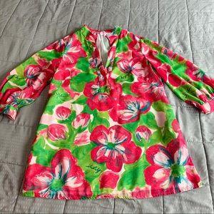 Lily Pullitzer Split Neck Shift Dress Sz 10